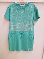 Детское платье, туника на девочку бирюза 2-10