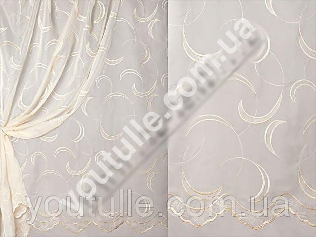 Вуаль шитьё белая (цветной узор)