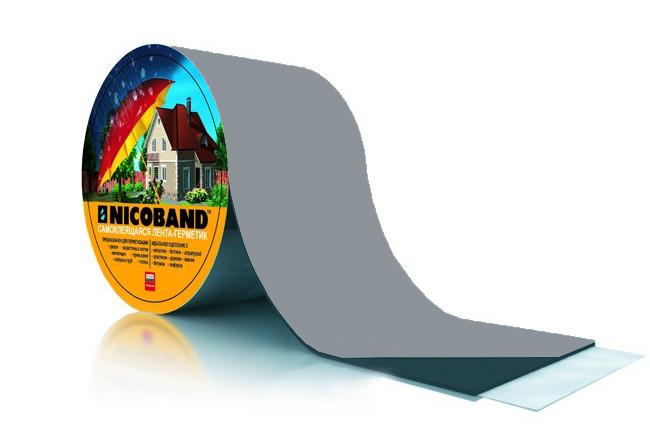 Лента самоклеющаяся Nicoband серая 10см*10м.