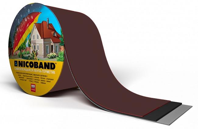Лента самоклеющаяся Nicoband коричневая 15см.*3м., фото 1