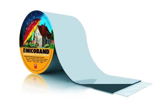 Лента самоклеющаяся Nicoband серебристая 7,5см.*10м., фото 1