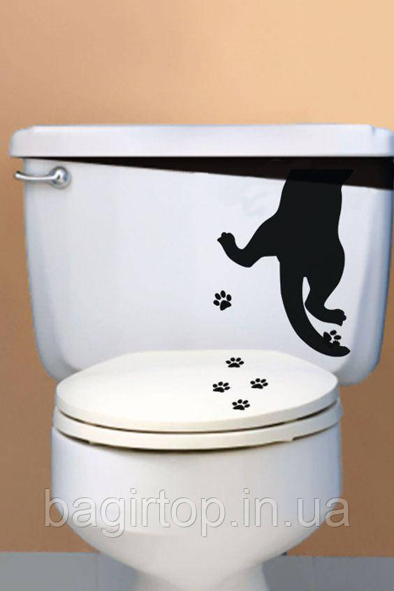 Виниловая интерьерная наклейка - Кот застрял