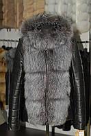 Кожаная куртка трансформер с шикарным капюшоном из чернобурки
