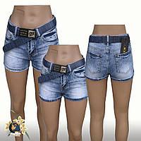 Шорты женские джинсовые короткие Lady N голубого цвета с синим ремнём