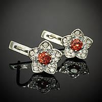 Серебряные серьги Цветы с фианитами, 42 камня