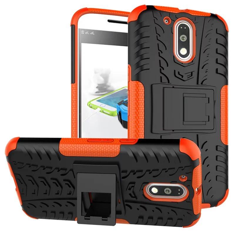 Чехол Motorola Moto G4 / G4 plus / XT1622 / XT1642 противоударный бампер оранжевый