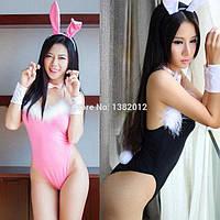 Сексуальный костюм ЗАЙКА, боди ЗАЙКА И УШКИ, костюм для ролевых  игр, S-M розовый, 42