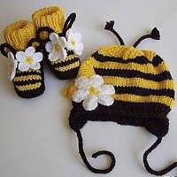"""В'язані пінетки та шапочка для дівчики """"Бджілка"""", ручної роботи"""