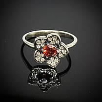 Серебряное кольцо Цветок с фианитами, фото 2