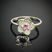 Серебряное кольцо Цветок с фианитами, фото 3