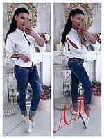 Блуза (Фабричный Китай) качество люкс ткань хлопок  рукав декор жемчуг  размер универсальный 42/46
