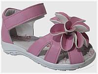 Детские босоножки розовые с цветочком для девочек VITALIYA, размеры 23-27