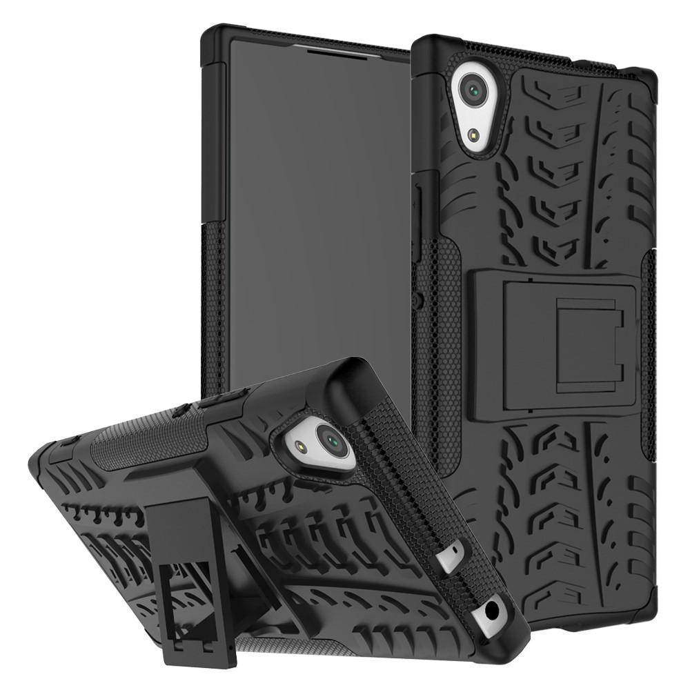 Чехол накладка для Sony Xperia XA1 G3112 противоударный с подставкой, черный