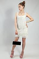 Платье белое нарядное ажурное мини Massimo Dutti