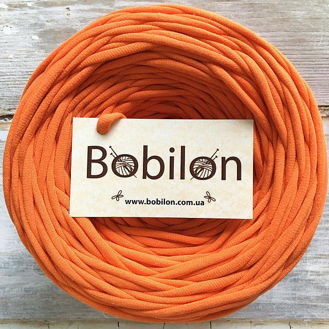 Пряжа трикотажная Бобилон 5-7 мм, цвет оранжевый апельсин