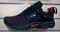 Мужские кроссовки  Nike Air Presto Flyknit Weaving черные с  красным