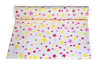 Пеленки фланель 110 х 90 желто-розовые звездочки 1
