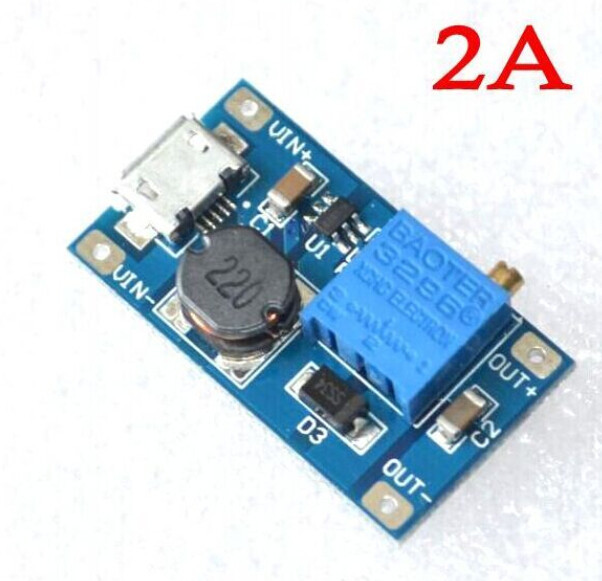 Micro USB DC-DC повышающий преобразователь, 2-28V 2A, 2577 модуль micro USB XY-016