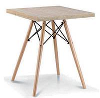 Стол обеденный Тауэр Вуд W, квадратный, 80х80, на деревянных ножках, Charles and Ray Eames table, стиль лофт