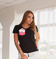 "Черная футболка ТМ Doratti ""Цветы"""