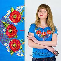 Блакитна жіноча футболка з вишивкою квітами на короткий рукав «Диво-маки », фото 1