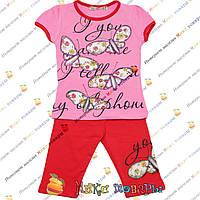 Летний костюм с бриджами и Розовой футболкой футболкой для девочки от 1 до 5 лет (4095-4)