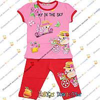 Детский костюм с бриджами и розовой футболкой для девочки от 1 до 5 лет (4096-2)