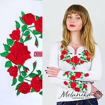 Модная белая женская футболка с длинным рукавом с вышивкой цветами «Роза», фото 3