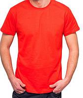 Красная футболка мужская спортивная летняя без рисунка трикотажная хб (Украина)