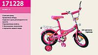 Велосипед 2-х колесный 12 дюймов розовый, со звонком, без ручного тормоза, 171228