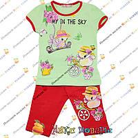Детский костюм с бриджами и салатовой футболкой для девочки от 1 до 5 лет (4096-3)