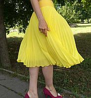 Юбка плиссе гофре шифон Ярко-желтый миди длины