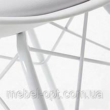 Стул дизайнерский Тау белый, белые металлические ножки, мягкая подушка Charles & Ray Eames, в стиле лофт, фото 3
