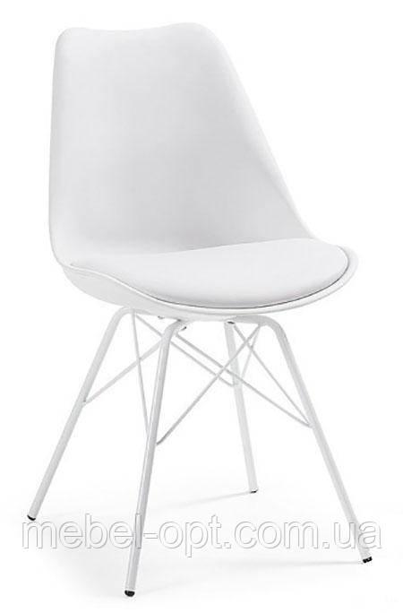 Стул дизайнерский Тау белый, белые металлические ножки, мягкая подушка Charles & Ray Eames, в стиле лофт