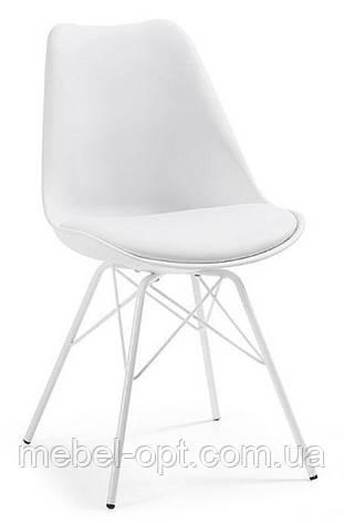 Стул дизайнерский Тау белый, белые металлические ножки, мягкая подушка Charles & Ray Eames, в стиле лофт, фото 2