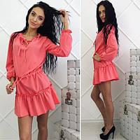 Стильное платье с рюшами (3 цвета)