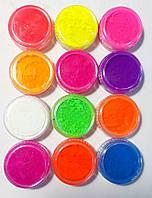 Набор цветных пигментов для геля и акрила 12 шт.