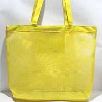 Пляжная прозрачная летняя сумка для пляжа и прогулок жёлтая