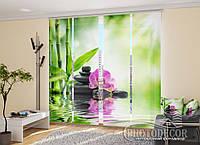 """Японські фотошторы """"Орхідеї на сонці"""" 2,40*1,20 (2 панелі на 60см)"""
