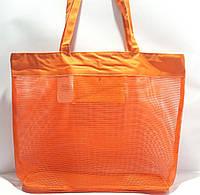 Пляжная прозрачная летняя сумка для пляжа и прогулок оранжевая
