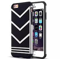 Противоударный чехол для iPhone 6/6S черный с серебром, фото 1