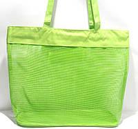 Пляжная прозрачная летняя сумка для пляжа и прогулок зелёная