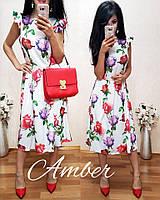женское летнее платье ниже колен