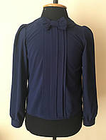 Блузка для девочки,нарядная синяя, фото 1