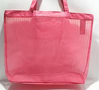 Пляжная прозрачная летняя сумка для пляжа и прогулок розовая