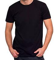 Черная футболка мужская спортивная летняя без рисунка прямая трикотажная хб (Украина)