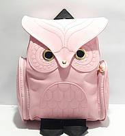 Рюкзак молодёжный для девочки кожзаменитель Совушка розовый