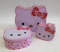 """Набор металлических шкатулок """"Hello Kitty"""" 3 в 1 для мелочей цвет розовый"""