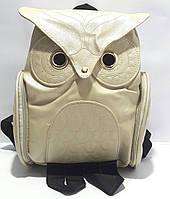 Рюкзак молодёжный для девочки кожзаменитель Совушка золотистый