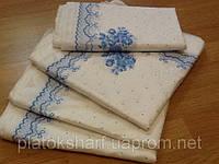 Платок белый с голубым цветком бабушкин